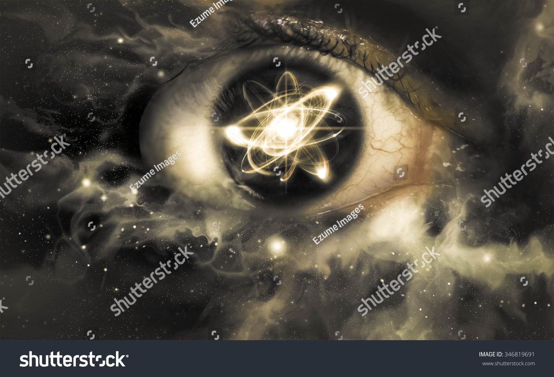 物理背景的瞳孔中的原子粒子反射-科学-海洛创意()