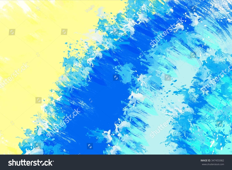 抽象的画背景与蓝色的海浪和沙滩-背景/素材,抽象-()