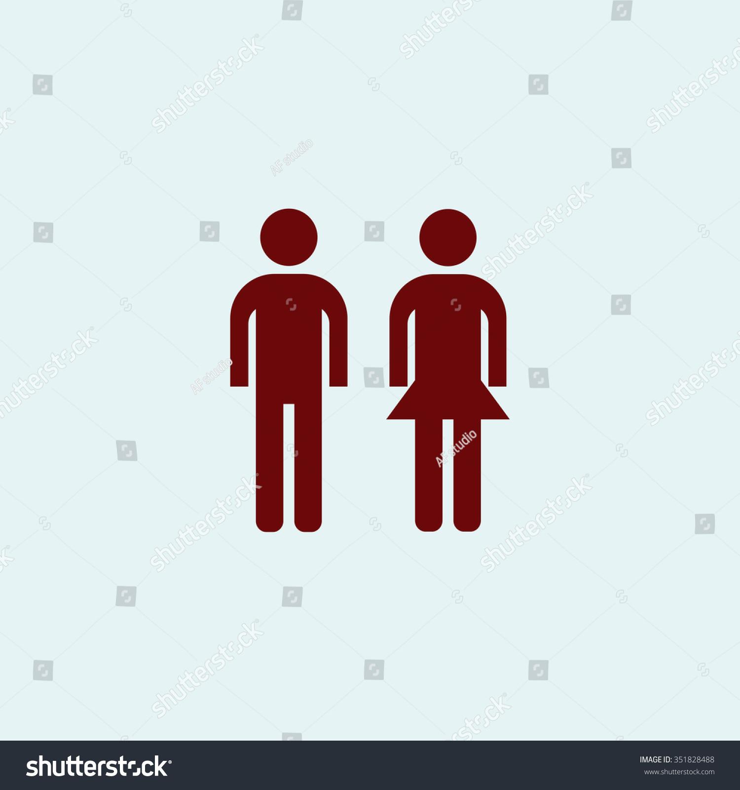 简单的男人和女人.红色的矢量图标