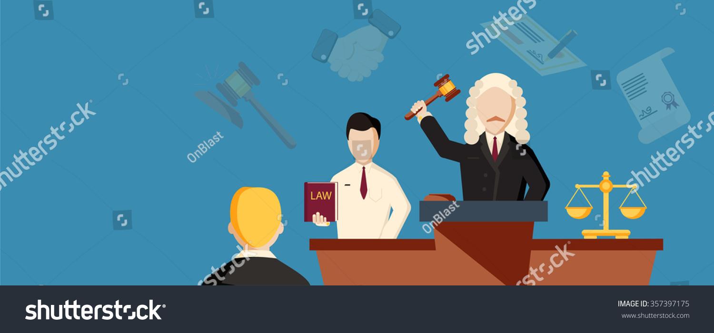 法律横向旗帜与律师单位元素分离-背景/素材