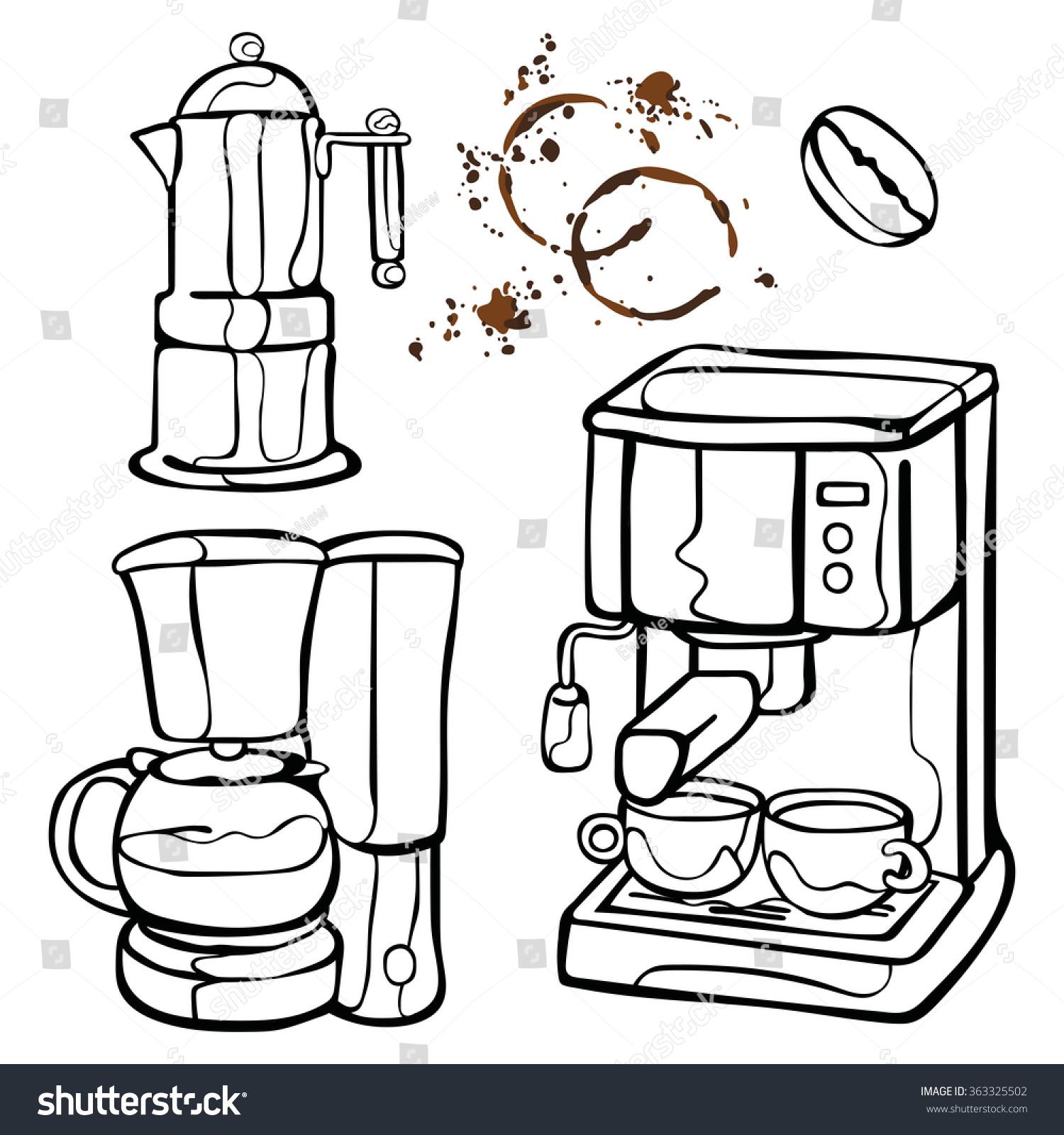 咖啡机.咖啡壶和咖啡杯.咖啡渍.咖啡溅.咖啡豆