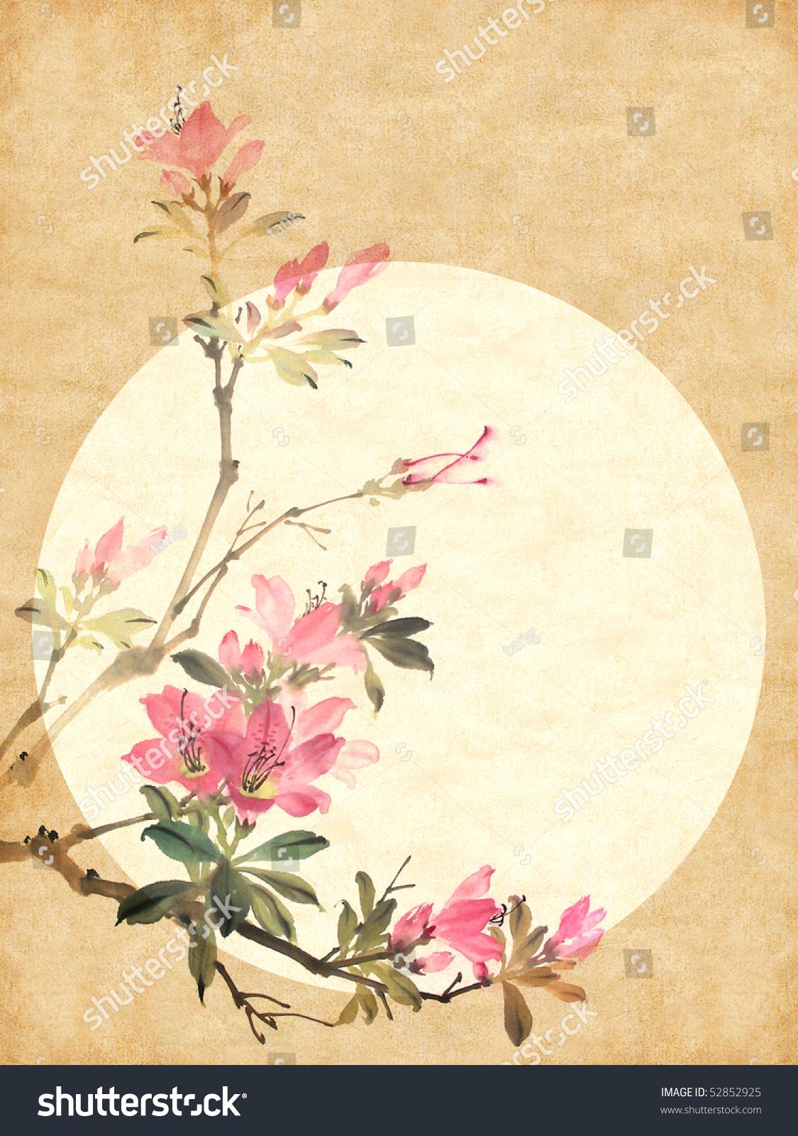 中中国画的红色杜鹃花花-背景/素材,物体-海洛创意()