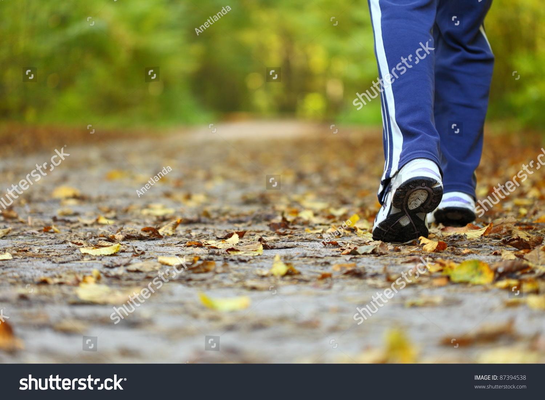 在秋天的森林小径-运动/娱乐活动