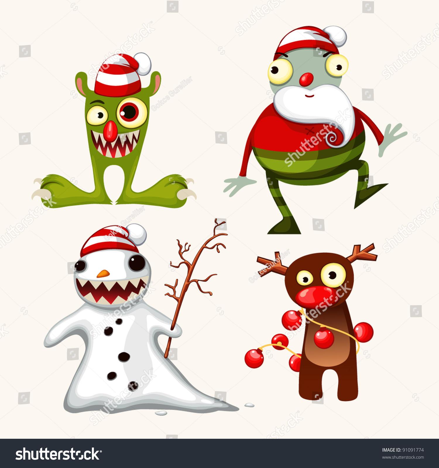 可爱的圣诞怪物-假期,动物/野生生物-海洛创意()