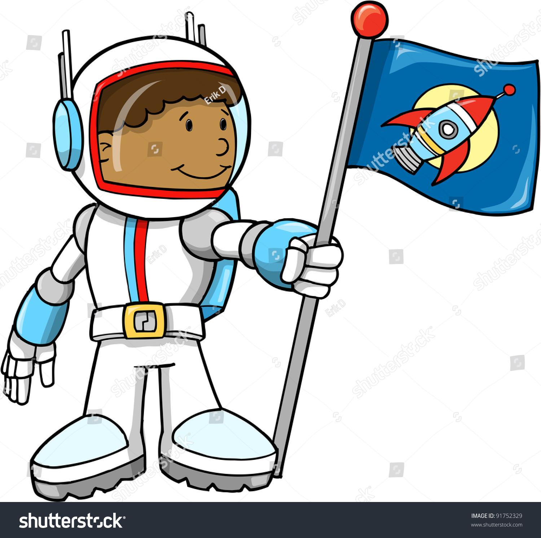 可爱的彩色卡通男孩素描涂鸦宇航员矢量插画艺术-人物