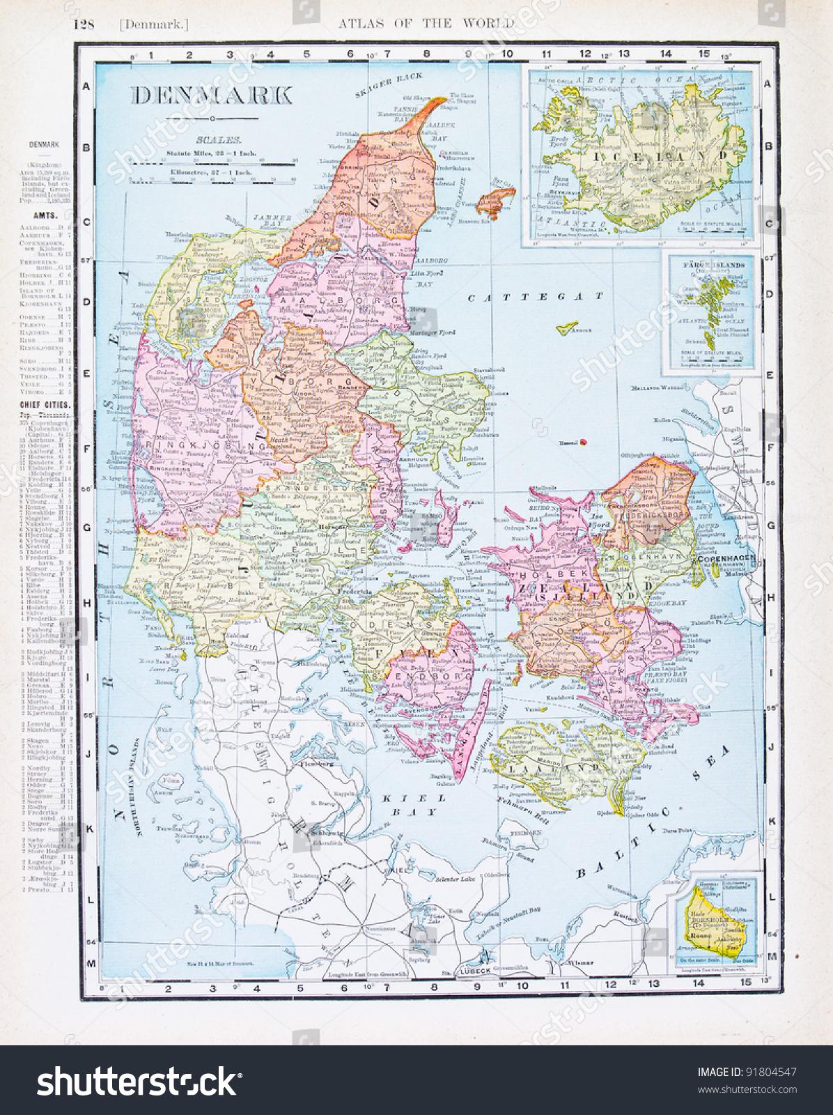 丹麦和冰岛的地图从spofford世界地图集