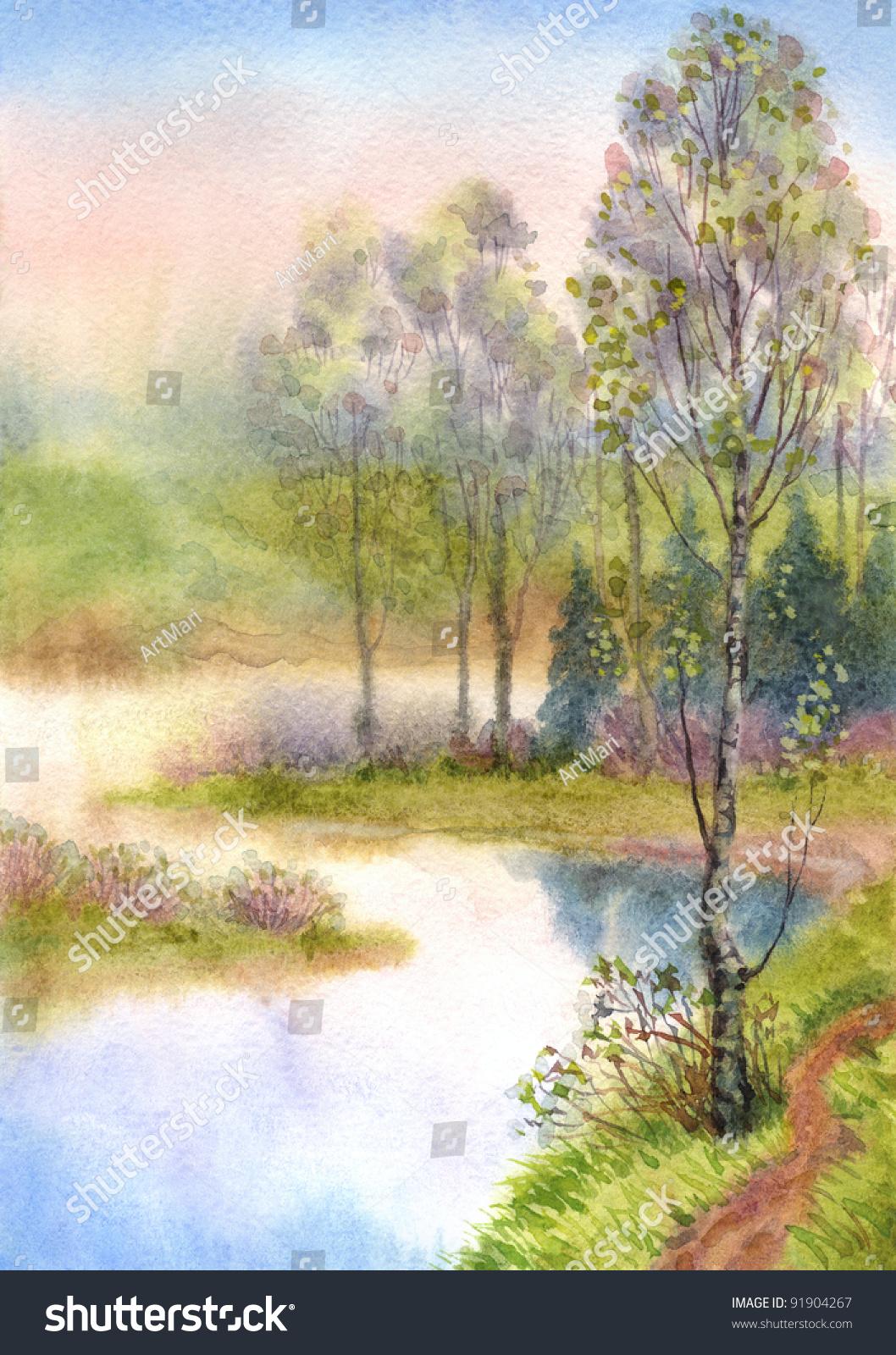 水彩风景。一个安静的春天的傍晚。小树的叶子一直不以为然的表面光滑一个宁静的湖泊 - 艺术,自然 - 站酷海洛创意正版图片,视频,音乐素材交易平台 - Shutterstock中国独家合作伙伴 - 站酷旗下品牌