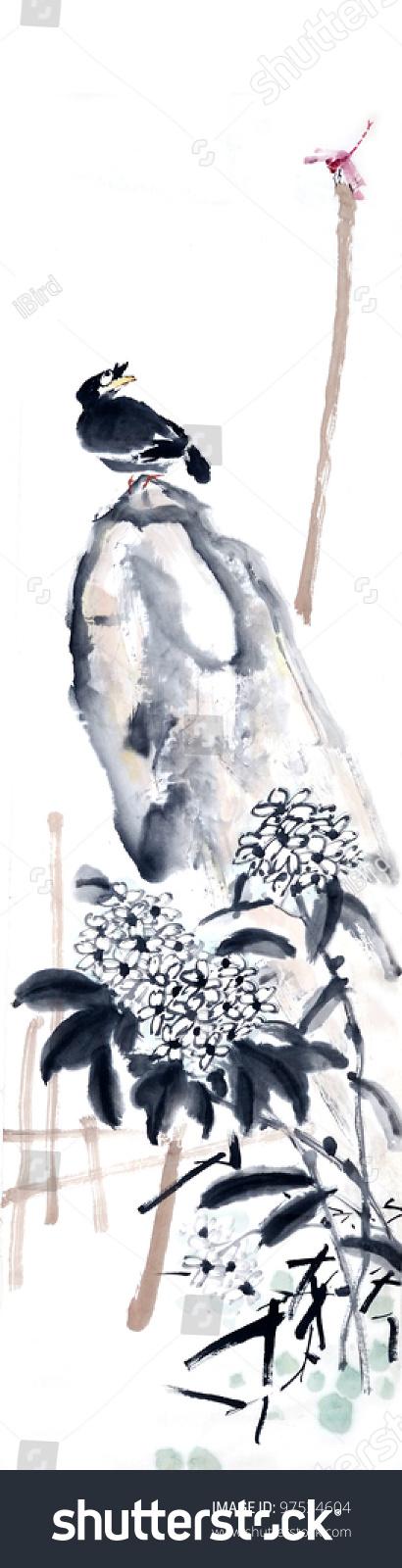 传统的中国水墨画绘画.-艺术,背景/素材-海洛创意()-.