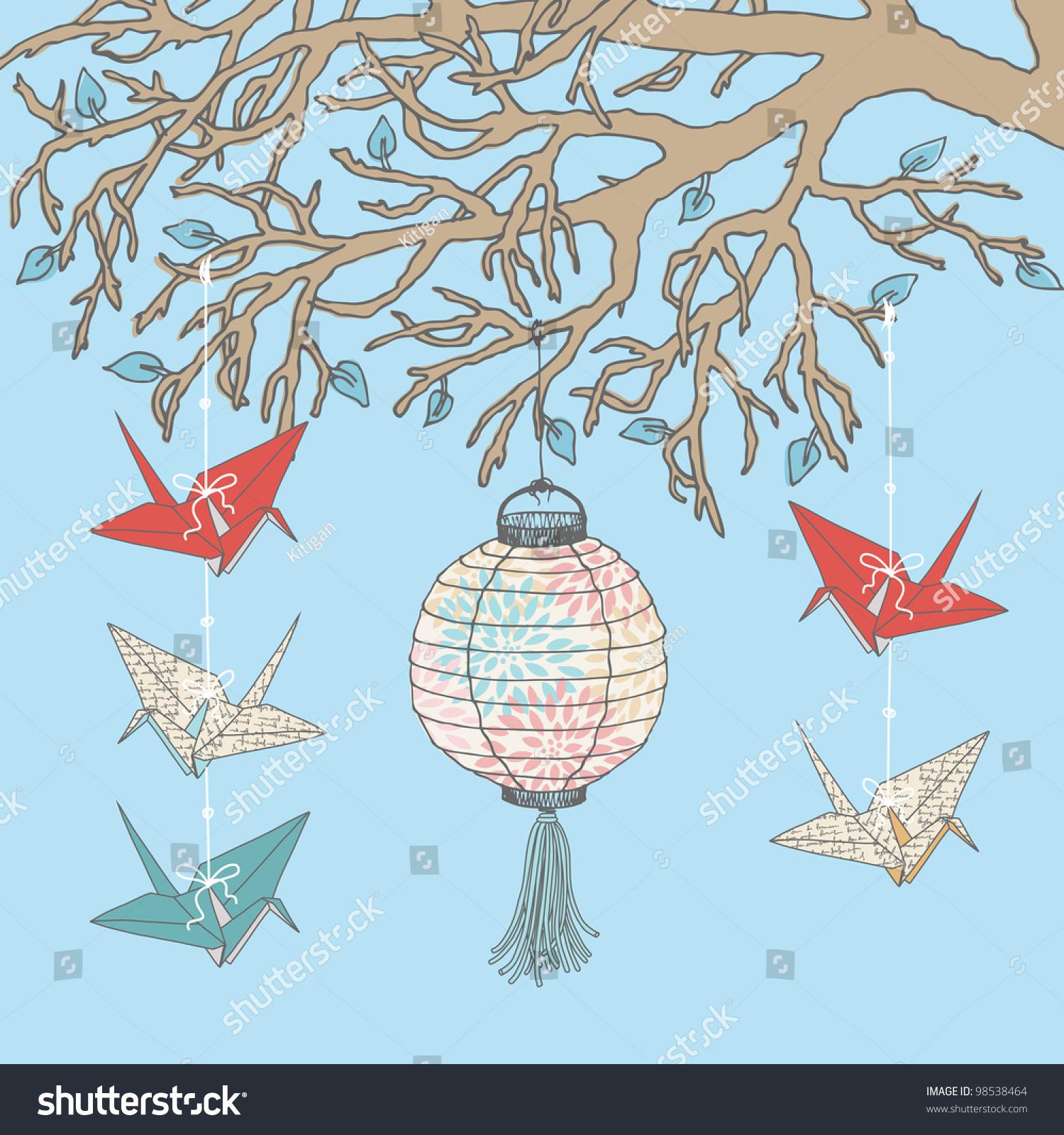 悬挂在树枝上的纸鹤和纸灯笼-物体,自然-海洛创意()-.