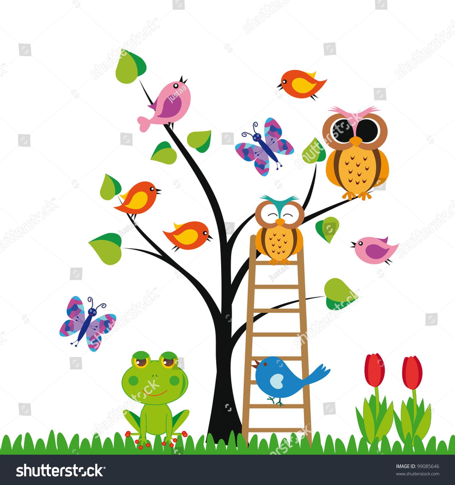 可爱的孩子背景树和鸟